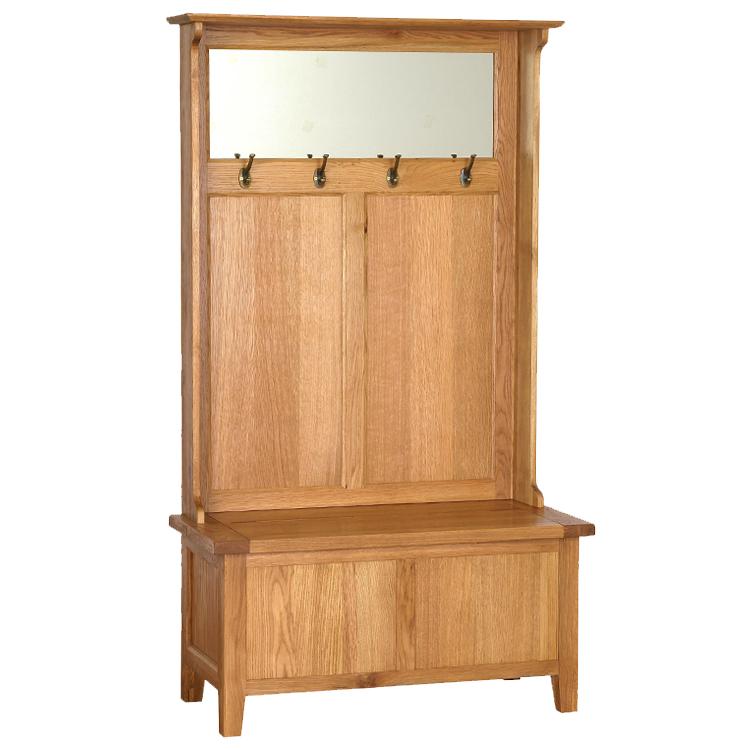 Oak Hall Tidy Storage Bench With Coat, Oak Hallway Bench And Coat Rack